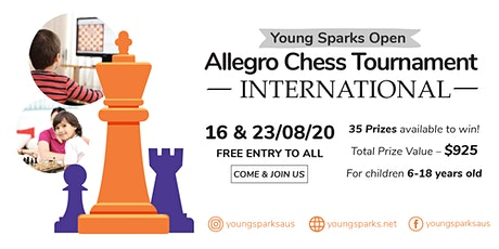 FREE Entry Chess Tournament - Young Sparks Allegro - Total Prize A$925 tickets
