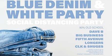 Blue denim and white wear party tickets