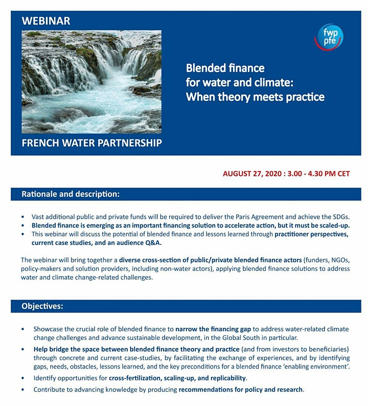 Webinar >> Blended Finance for Water & Climate: When theory meets practice image