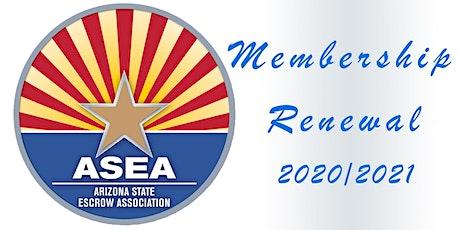 ASEA Membership Renewal 2020/2021 tickets
