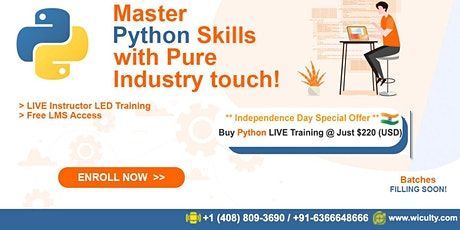 Python Online Training   Pure Hands-on Training @ Just $220(USD)   Weekday tickets