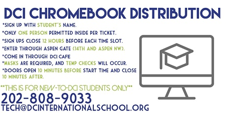 DCI New Student Chromebook Pick-Up tickets