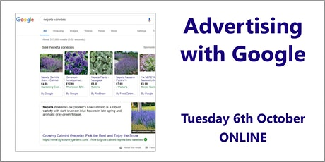 Advertising with Google – 6th October, online tickets