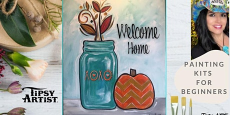How to Paint a Welcome Home Fall Mason Jar with Pumpkin tickets
