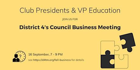 D4TM 2020 Fall Business Meeting (Virtual) tickets