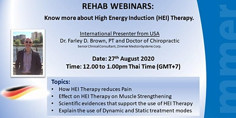 FREE REHAB WEBINARS: Know more about High Energy Induction (HEI) Therapy. tickets