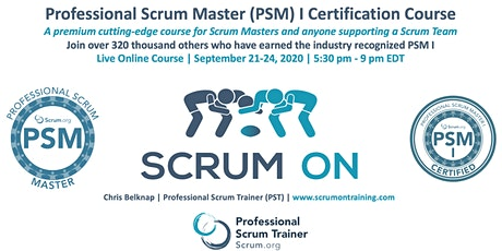 Scrum.org Professional Scrum Master (PSM) I - Live Online  Sept 21-24, 2020 biglietti