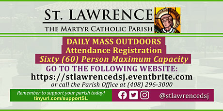 TUESDAY, August 11 @ 8:30 AM DAILY Mass Registration tickets