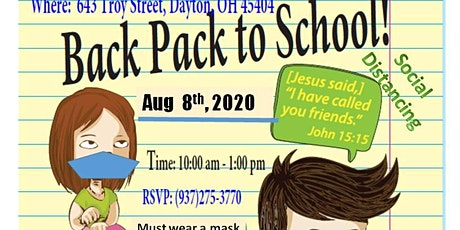 BACK PACK TO SCHOOL BASH! AUG 8th 2020! MUST RSVP! tickets