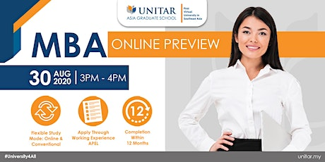 UNITAR MBA Online Preview | 30 August 2020 tickets