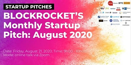 BLOCKROCKET's Monthly Startup Pitch: August 2020 tickets