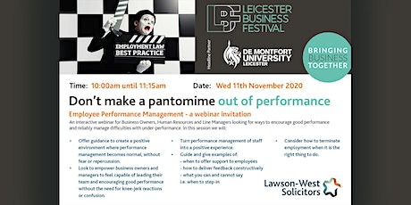 PERFORMANCE MANAGEMENT-EMPLOYERS: DON'T MAKE A PANTOMINE OUT OF PERFORMANCE tickets