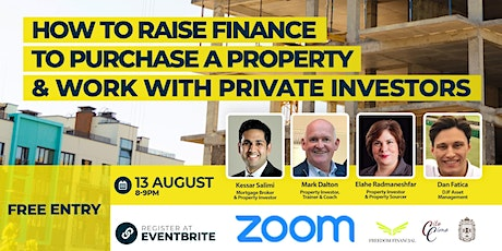 How to raise finance to purchase a property and work with private investors tickets