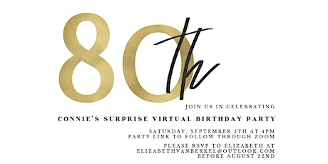 Connie's 80th Surprise Virtual Birthday Party tickets