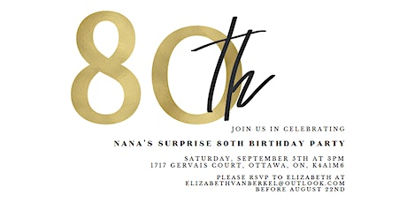 Nana's Surprise 80th Birthday Party tickets