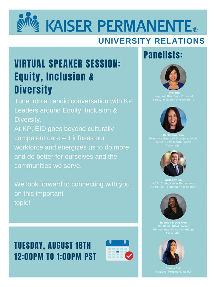 Kaiser Permanente Virtual Speaker Session: Equity, Inclusion & Diversity thumbnail image