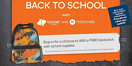 Score a Free Backpack for Your Child at Boost Mobile! tickets