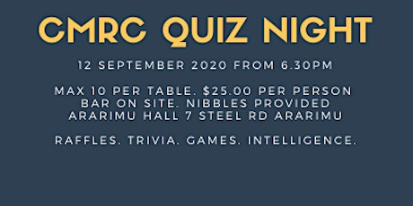 Counties Manukau Rowing Club QUIZ NIGHT 2020 tickets