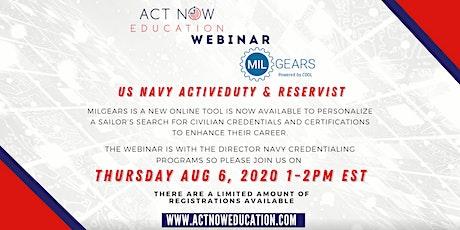 Navy Certification Resource MilGears Webinar Thursday August 6th 1-2PM EST tickets