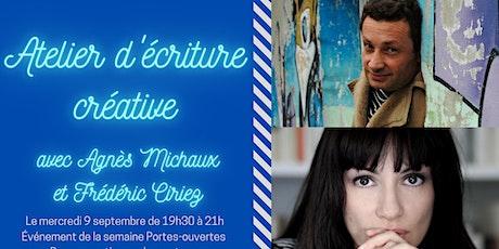 Atelier d'écriture créative avec Agnès Michaux et Frédéric Ciriez tickets