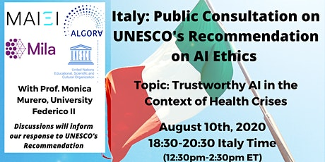 Italy: Public Consultation on UNESCO's Recommendation on AI Ethics tickets