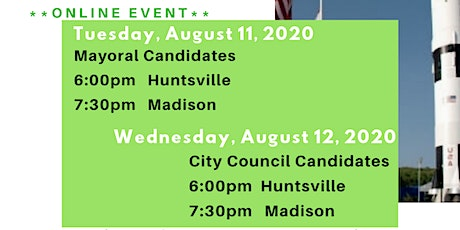 Municipal Candidate Forums Mayor/City Council - Huntsville & Madison tickets