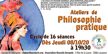 Un cycle de 16 ateliers de philosophie pratique Tickets