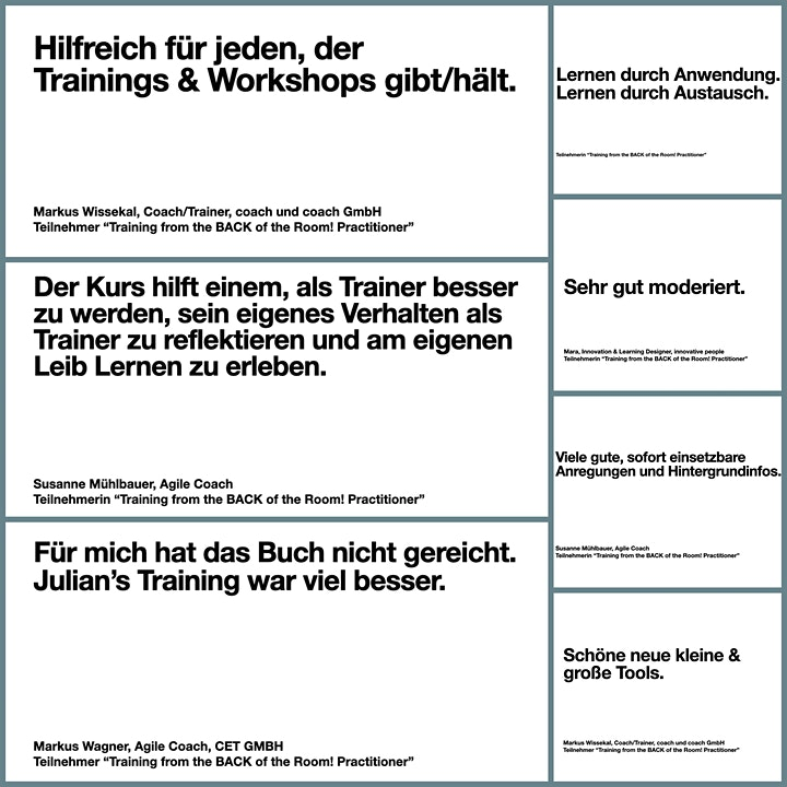 Training from the BACK of the Room! (TBR), 2 Tage, Sprache: Deutsch: Bild