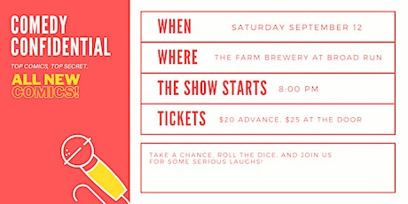 Comedy Confidential at The Farm Brewery at Broad Run tickets