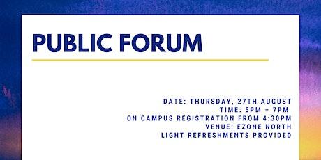 Department of Mathematics and Statistics - Public Forum tickets