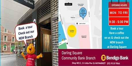 Book a tour  and have a coffee on us at Darling Square Community Bank tickets