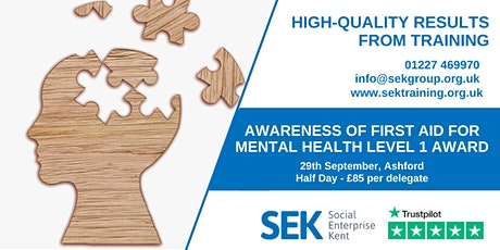 Accredited Awareness of First Aid for Mental Health - Level 1 tickets