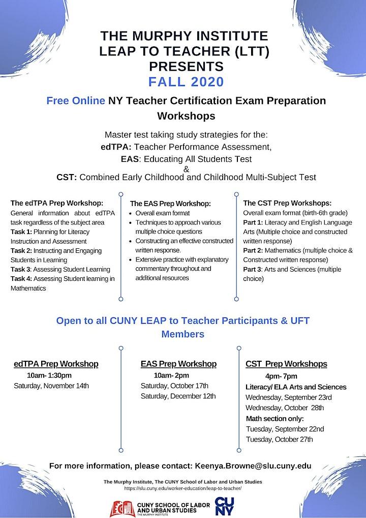 Fall 2020  Free Virtual NY Teacher Certification Exam Preparation Workshops image