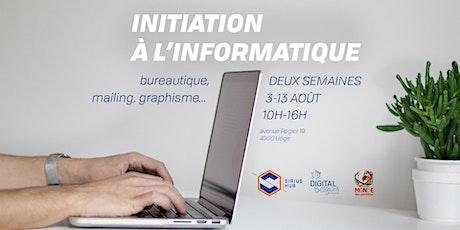 Initiation à l'informatique (3-13 août) billets