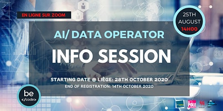 BeCode Liège - INFO SESSION AI / DATA OPERATOR - 25 août 2020, 14h00 billets