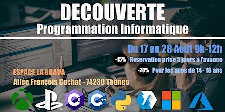 Découverte de la programmation informatique du 17.08.20 au 28.08.20 billets