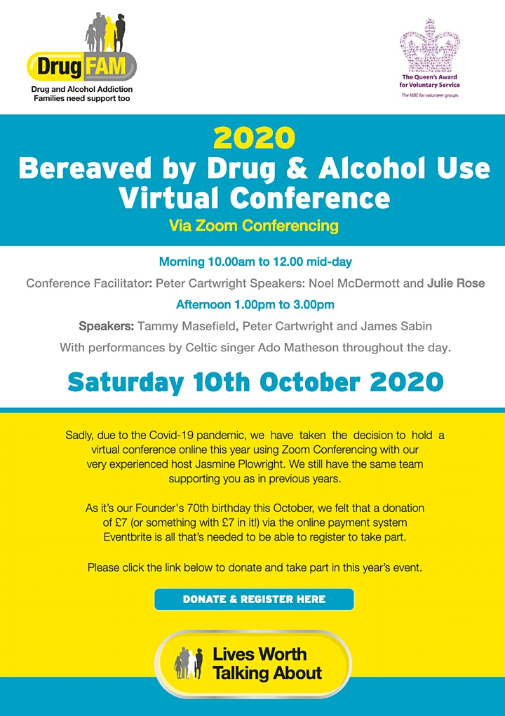 DrugFAM Bereaved by Drug & Alcohol Use Virtual Conference image