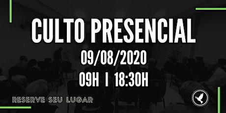CULTO PRESENCIAL - 09/08/20 - COMUNIDADE EVANGÉLICA SHALOM ingressos
