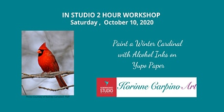 Learn to Paint a Winter Cardinal with Alcohol Inks on Yupo Paper tickets