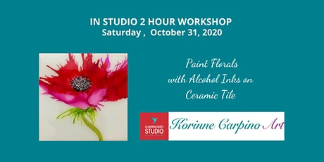 Learn to Paint Florals with Alcohol Ink and Air on Ceramic Tile tickets