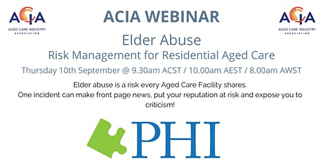 Elder Abuse - Risk Management for Residential Aged Care tickets