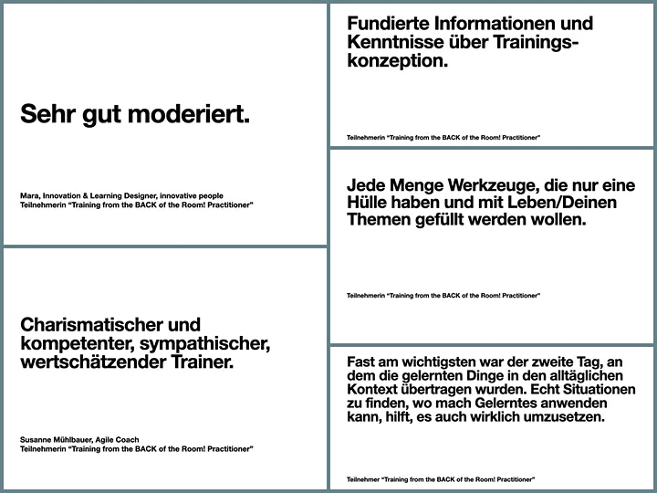 Training from the BACK of the Room Practitioner - Virtual Edition, Deutsch: Bild