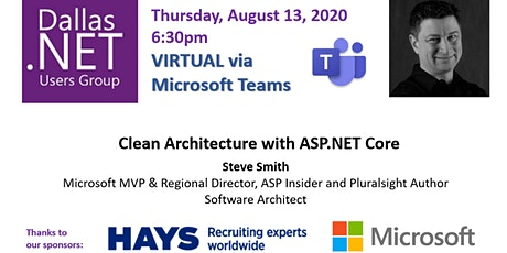 DDNUG Virtual Event: Clean Architecture with ASP.NET Core by Steve Smith tickets