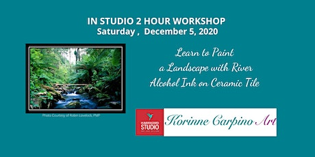 Learn to Paint a Landscape with River with Alcohol Ink on Ceramic Tile tickets