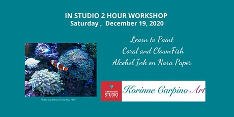 Learn to Paint Coral and a Clownfish in Alcohol Inks on Nara Paper tickets