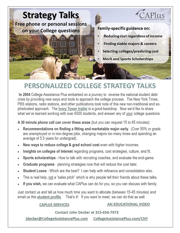 College Strategy Webinar with Q&A - 30 minutes image