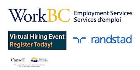 WorkBC SSWR/Cloverdale - Online hiring fair with Randstad tickets