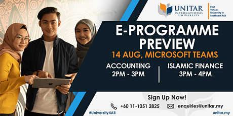 Accounting & Islamic Finance E-programme preview (14  August 2020) tickets