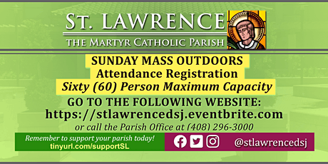 SUNDAY, August 16 @ 8:00 AM Mass Registration tickets