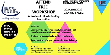 Workshop: Art as inspiration in leading innovation. // Berliner Kunstsommer Tickets